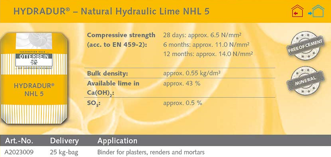 Natural Hydraulic Lime 5.0 - 25kg-Otterbein-Atlas Preservation