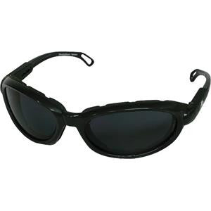 Safety Glasses w/Foam Lining; Black Frame, Gray Lens