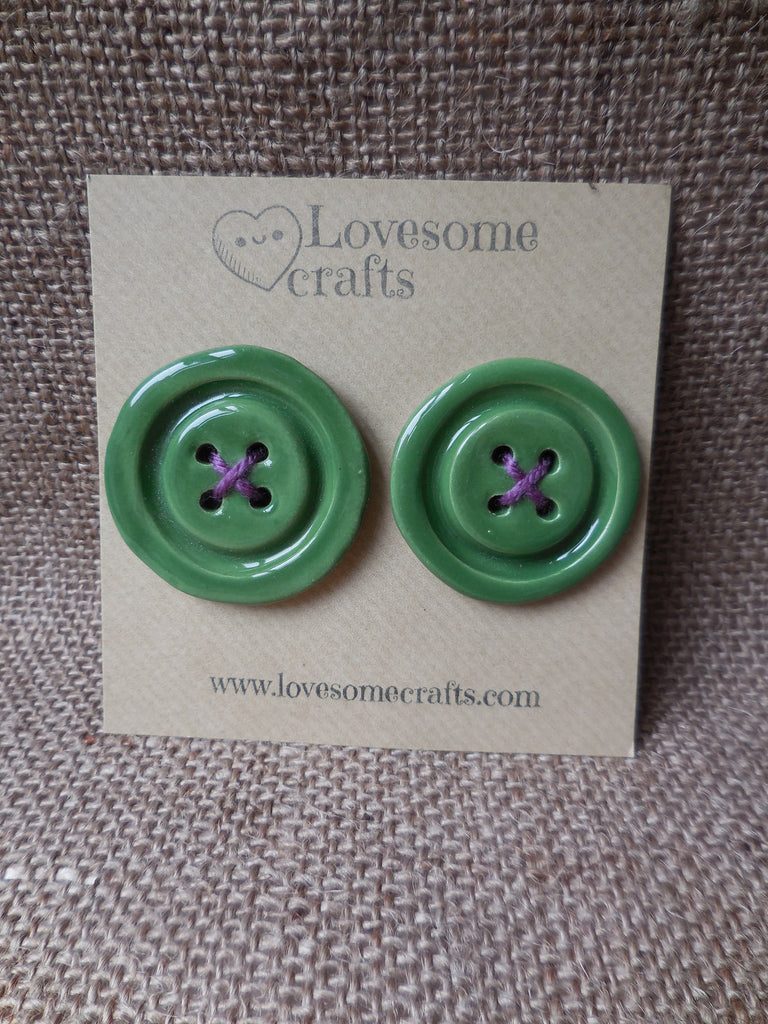 Ceramic Buttons. Handmade pack of 2 30mm ceramic buttons. Meadow green colour.