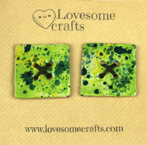 Green Speckled Square Ceramic Buttons
