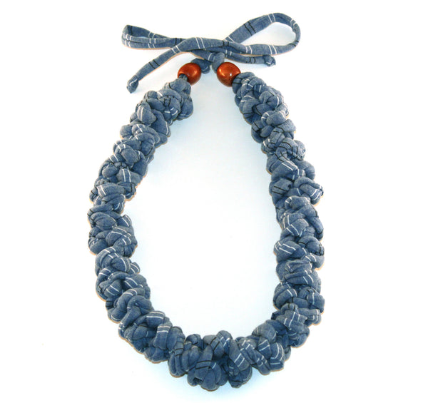 Blue Pin Striped Necklace