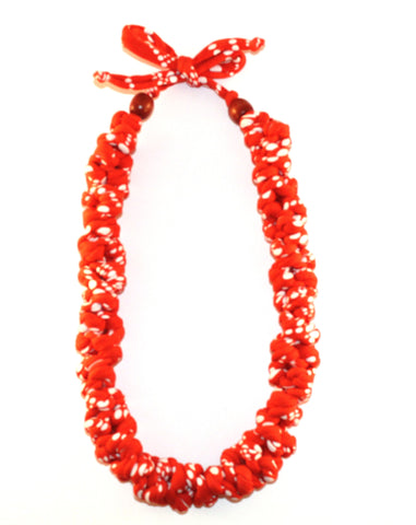 Orange and White Polka Dot Necklace