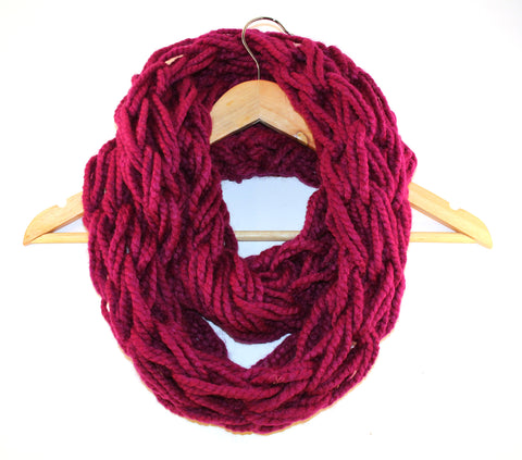 Magenta Arm Knitted Infinity Scarf