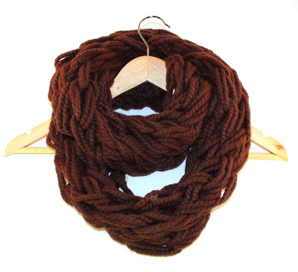 Chocolate Arm Knitted Infinity Scarf