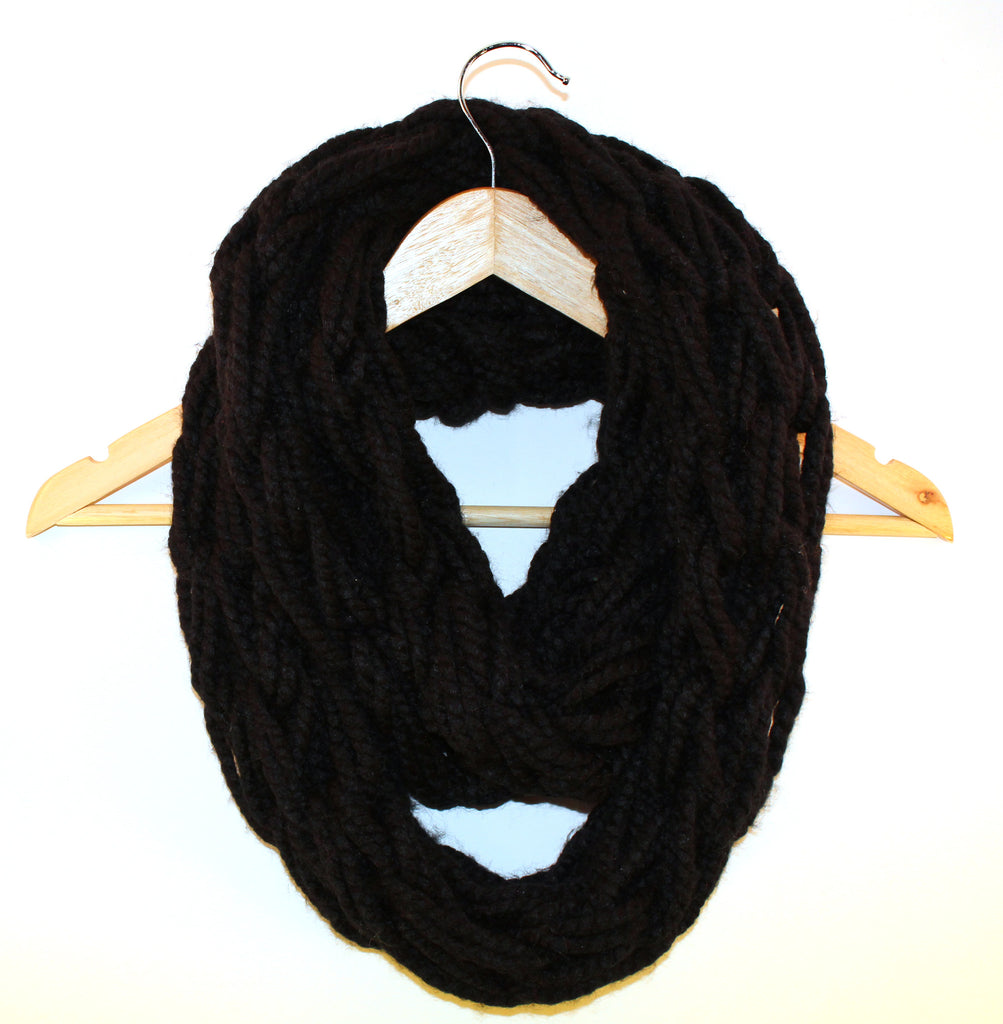 Black Arm Knitted Infinity Scarf