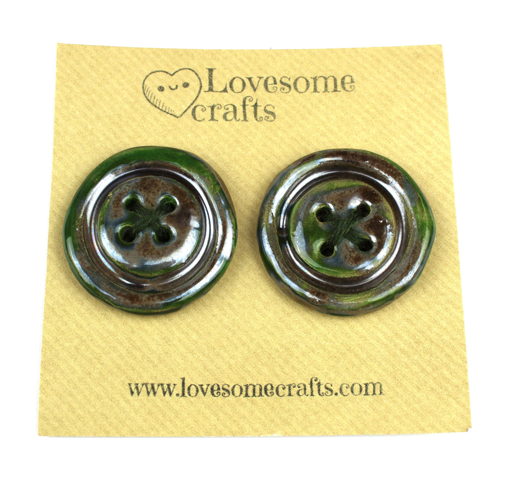 Metallic Grey and Green Ceramic Buttons