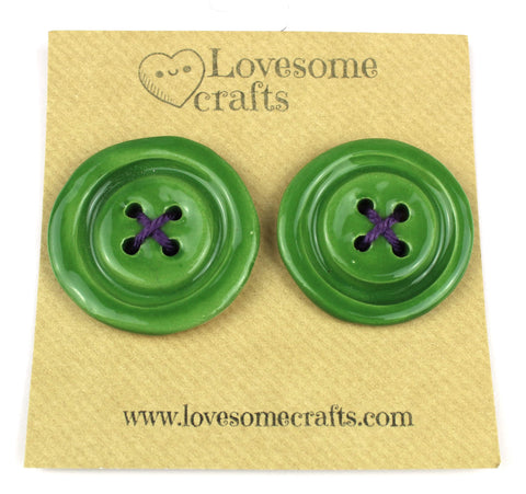 Fern Green Ceramic Buttons