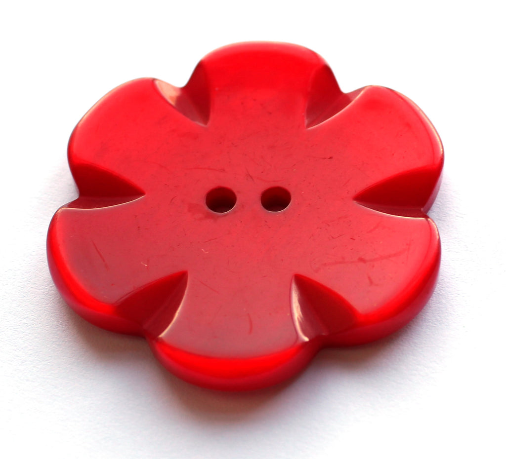 Red Flower 50mm Button