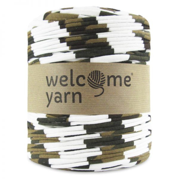 White, Olive Green & Brown Striped T-Shirt Yarn