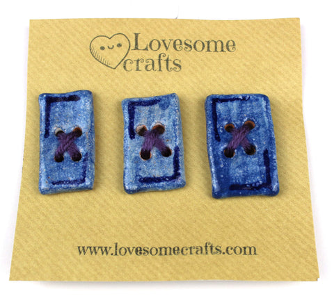 Blue Rectangle Ceramic Buttons