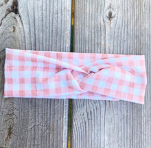 Load image into Gallery viewer, Peach Gingham Headwrap