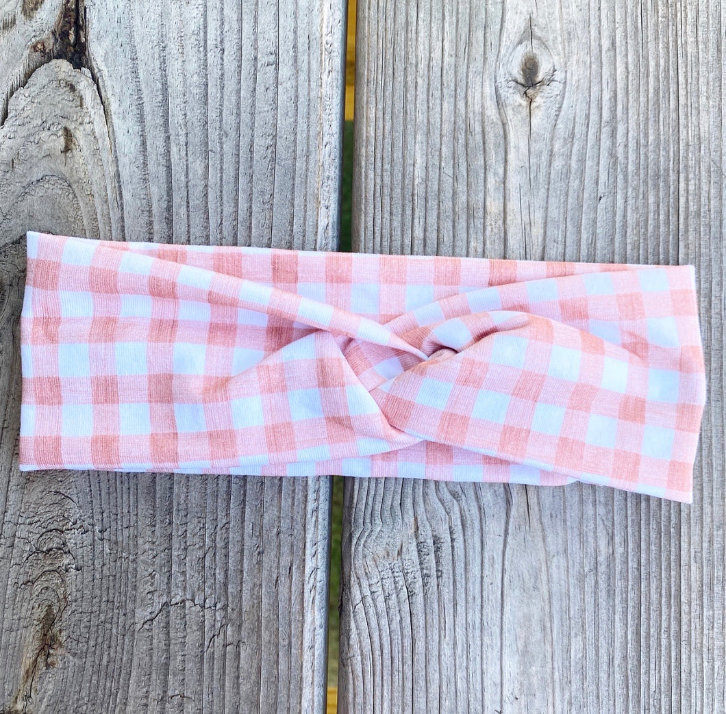 Peach Gingham Headband