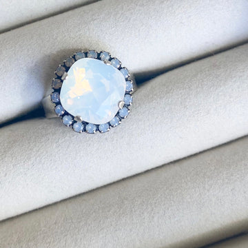 Floorboard Findings Swarovski Ring • Spring Opal Collection • White Opal & Air Blue Opal