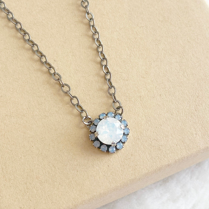Floorboard Findings Swarovski Necklace • Spring Opal Collection • White Opal & Air Blue Opal