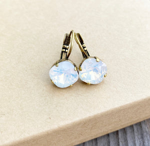 Floorboard Findings Swarovski Crystal Drop Earrings in White Opal