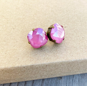 Floorboard Findings Swarovski Studs in Pink Peony