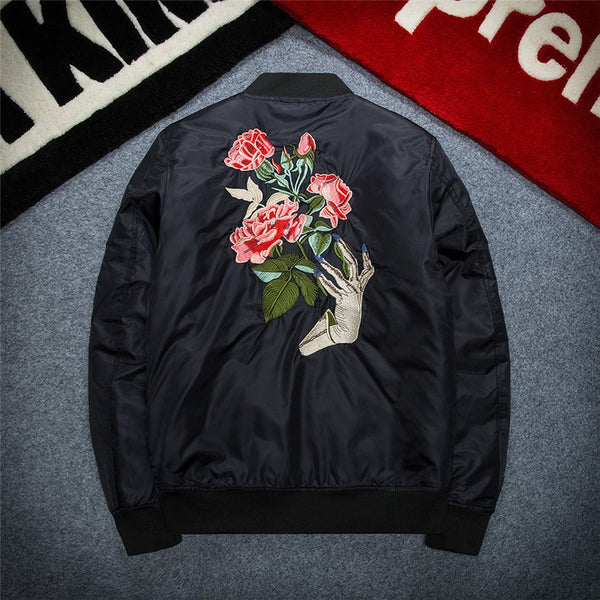 'Roses' Embroidered MA-1 Bomber Jacket