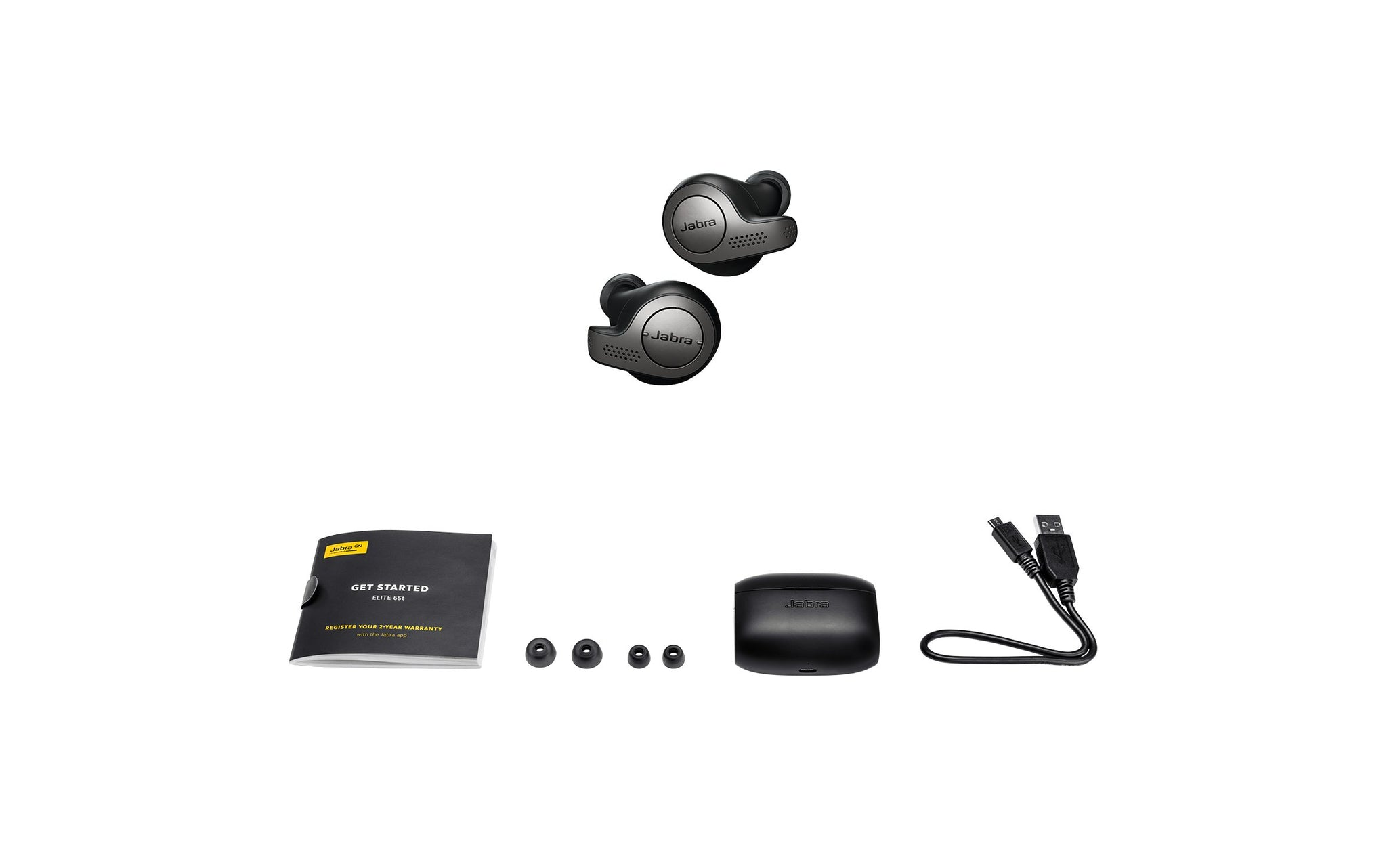 Jabra Elite 65t Earbuds - Alexa Enabled, True Wireless Earbuds with Charging Case, Titanium Black - Bluetooth Earbuds Engineered for The Best True Wireless Calls and Music Experience