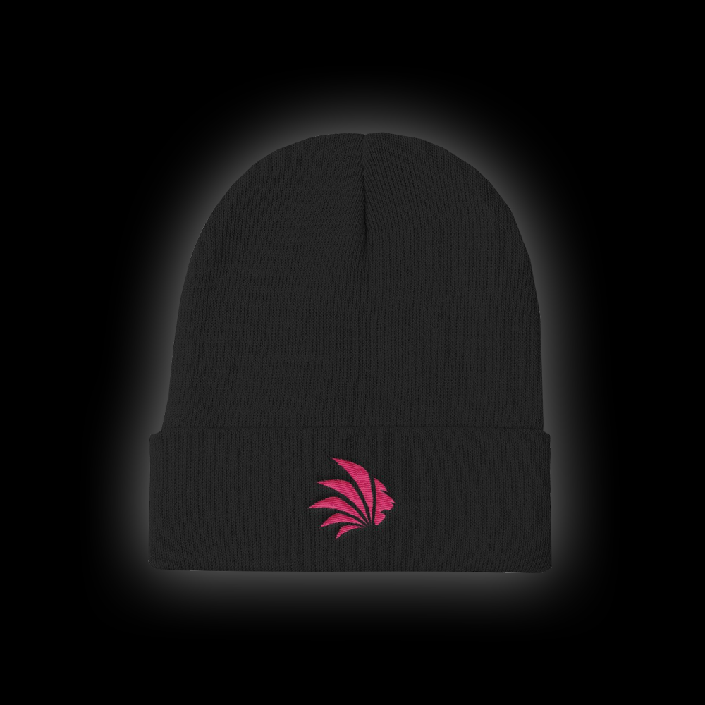 Jungle Control Pink Logo Knit Beanie