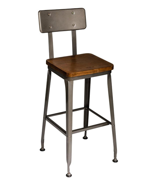 Octane Industrial Seating Bar Stools Wood Seat Metal Back