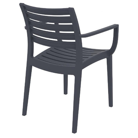 Compamia Artemis Outdoor Dining Arm Chair Dark Gray ISP011-DGR - RestaurantFurniturePlus + Chairs, Tables and Outdoor - 2