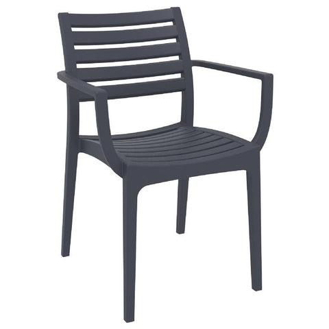 Compamia Artemis Outdoor Dining Arm Chair Dark Gray ISP011-DGR - RestaurantFurniturePlus + Chairs, Tables and Outdoor - 3