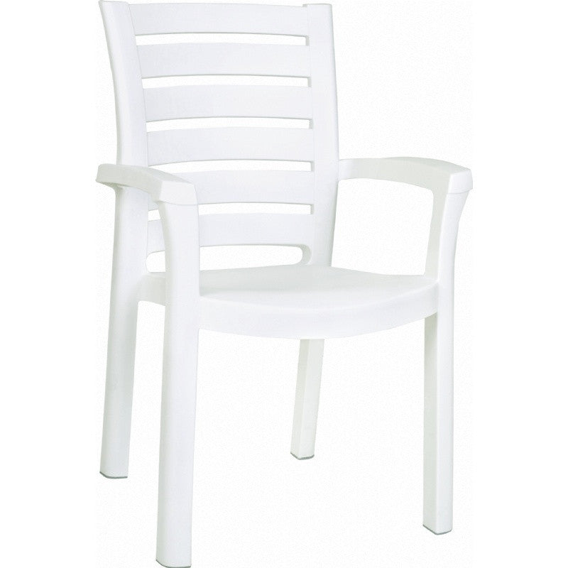 Compamia Marina Resin Dining Arm Chair White ISP016-WHI - YourBarStoolStore + Chairs, Tables and Outdoor