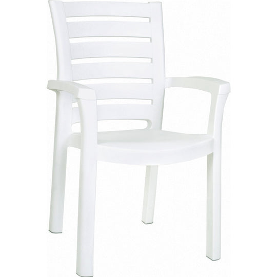 Compamia Marina Resin Dining Arm Chair White ISP016-WHI - RestaurantFurniturePlus + Chairs, Tables and Outdoor