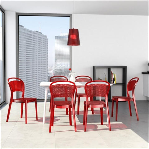 Compamia Bee Polycarbonate Dining Chair Transparent Red ISP021-TRED - RestaurantFurniturePlus + Chairs, Tables and Outdoor - 4