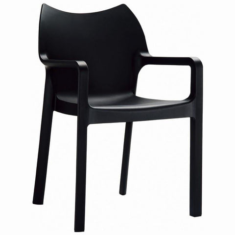 Compamia Diva Resin Outdoor Dining Arm Chair Black ISP028-BLA - RestaurantFurniturePlus + Chairs, Tables and Outdoor - 1