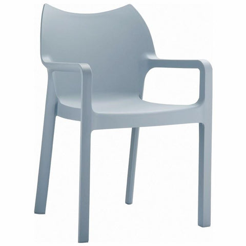 Compamia Diva Resin Outdoor Dining Arm Chair Silver ISP028-SIL - RestaurantFurniturePlus + Chairs, Tables and Outdoor