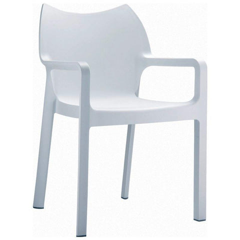Compamia Diva Resin Outdoor Dining Arm Chair White ISP028-WHI - RestaurantFurniturePlus + Chairs, Tables and Outdoor - 1