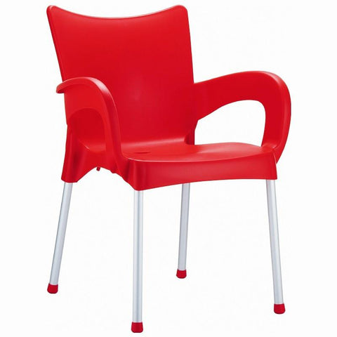 Compamia Romeo Resin Dining Arm Chair Red ISP043-RED - RestaurantFurniturePlus + Chairs, Tables and Outdoor - 1
