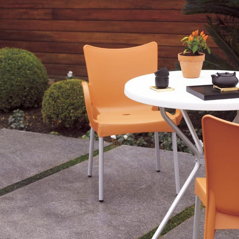 Compamia Romeo Resin Dining Arm Chair Orange ISP043-ORA - RestaurantFurniturePlus + Chairs, Tables and Outdoor - 4