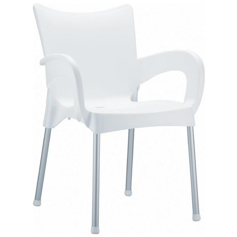Compamia Romeo Resin Dining Arm Chair White ISP043-WHI - RestaurantFurniturePlus + Chairs, Tables and Outdoor - 1