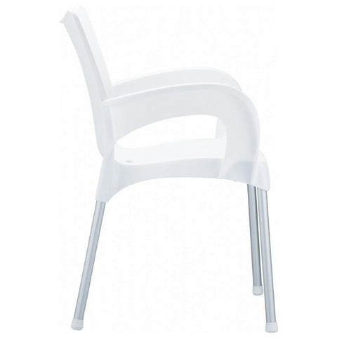 Compamia Romeo Resin Dining Arm Chair White ISP043-WHI - RestaurantFurniturePlus + Chairs, Tables and Outdoor - 3