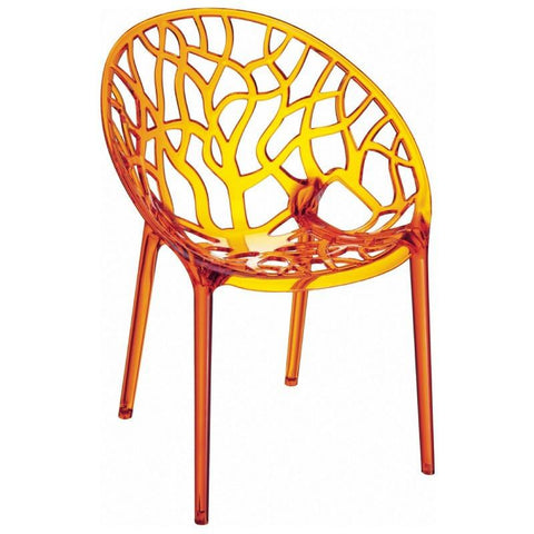 Compamia Crystal Polycarbonate Modern Dining Chair Transparent Orange ISP052-TORA - RestaurantFurniturePlus + Chairs, Tables and Outdoor - 1