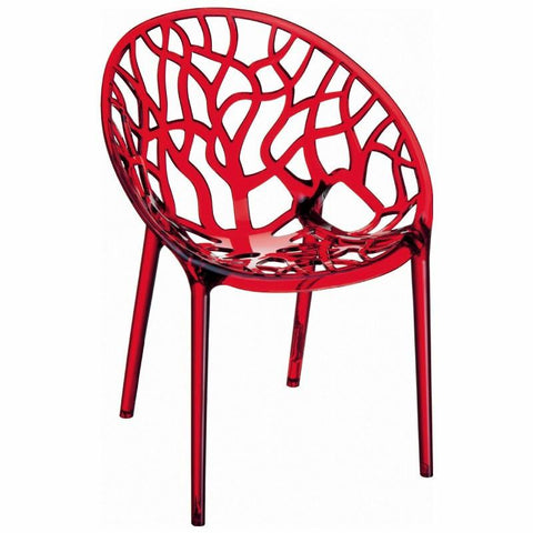 Compamia Crystal Polycarbonate Modern Dining Chair Transparent Red ISP052-TRED - RestaurantFurniturePlus + Chairs, Tables and Outdoor - 2