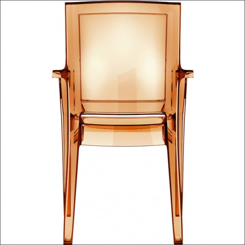 Compamia Arthur Polycarbonate Modern Dining Chair Transparent Amber ISP053-TAMB - YourBarStoolStore + Chairs, Tables and Outdoor  - 2