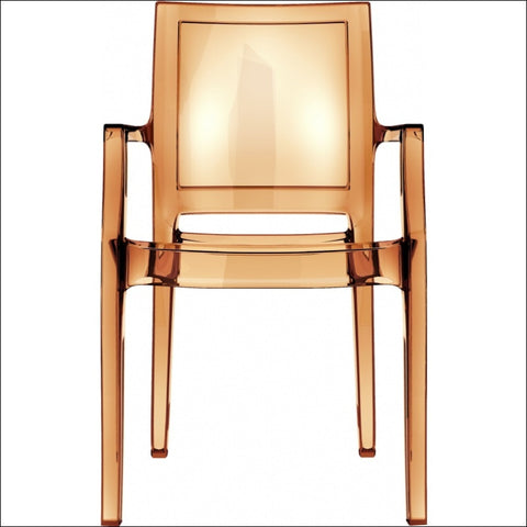 Compamia Arthur Polycarbonate Modern Dining Chair Transparent Amber ISP053-TAMB - YourBarStoolStore + Chairs, Tables and Outdoor  - 3
