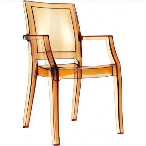 Compamia Arthur Polycarbonate Modern Dining Chair Transparent Amber ISP053-TAMB - YourBarStoolStore + Chairs, Tables and Outdoor  - 1
