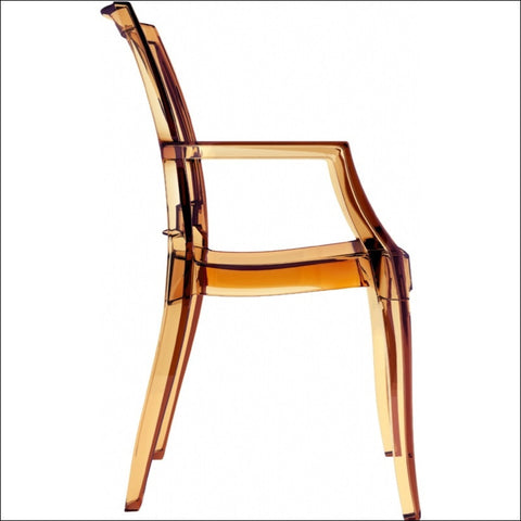 Compamia Arthur Polycarbonate Modern Dining Chair Transparent Amber ISP053-TAMB - YourBarStoolStore + Chairs, Tables and Outdoor  - 5