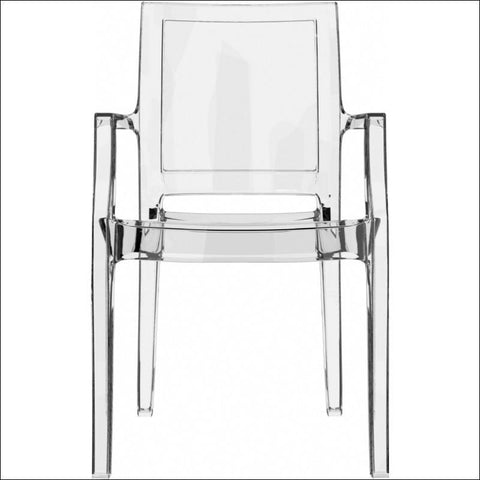 Compamia Arthur Polycarbonate Modern Dining Chair Transparent Clear ISP053-TCL - YourBarStoolStore + Chairs, Tables and Outdoor  - 3