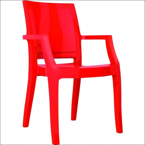 Compamia Arthur Polycarbonate Modern Dining Chair Glossy Red ISP053-GRED - YourBarStoolStore + Chairs, Tables and Outdoor  - 1