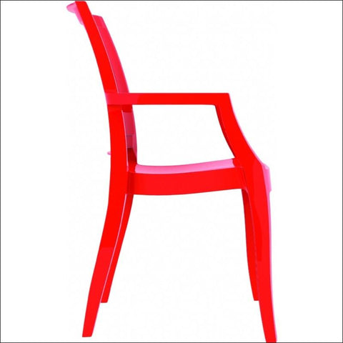 Compamia Arthur Polycarbonate Modern Dining Chair Glossy Red ISP053-GRED - YourBarStoolStore + Chairs, Tables and Outdoor  - 2