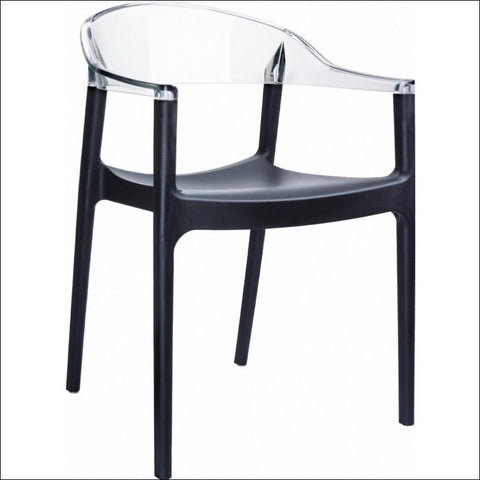 Compamia Carmen Modern Dining Chair Black Seat Transparent Clear Back ISP059-BLA-TCL - RestaurantFurniturePlus + Chairs, Tables and Outdoor - 1