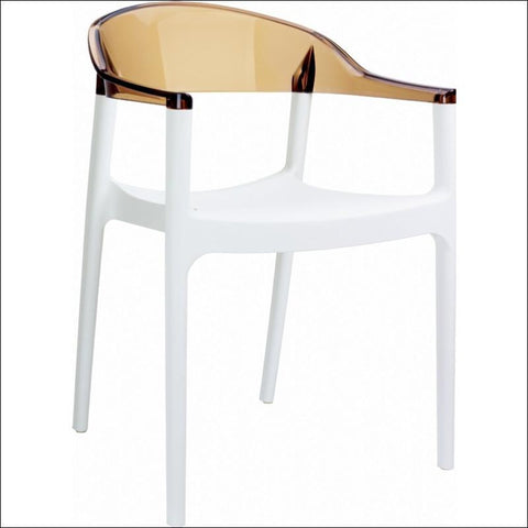 Compamia Carmen Modern Dining Chair White Seat Transparent Amber Back ISP059-WHI-TAMB - RestaurantFurniturePlus + Chairs, Tables and Outdoor - 1