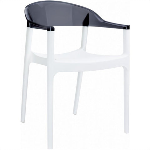 Compamia Carmen Modern Dining Chair White Seat Transparent Black Back ISP059-WHI-TBLA - RestaurantFurniturePlus + Chairs, Tables and Outdoor - 1