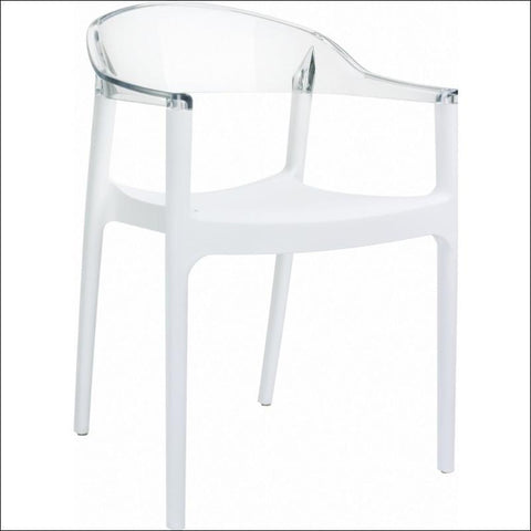 Compamia Carmen Modern Dining Chair White Seat Transparent Clear Back ISP059-WHI-TCL - RestaurantFurniturePlus + Chairs, Tables and Outdoor - 1