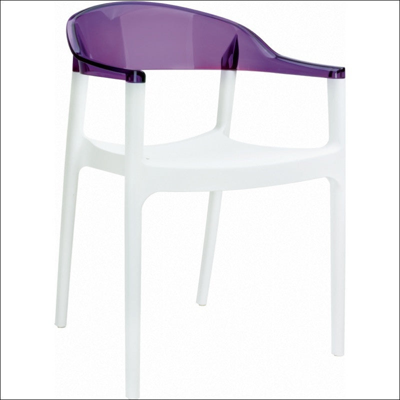 Compamia Carmen Modern Dining Chair White Seat Transparent Violet Back ISP059-WHI-TVIO - YourBarStoolStore + Chairs, Tables and Outdoor  - 1